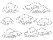 Τα σύννεφα καθορισμένα το γραφικό μαύρο απομονωμένο λευκό διάνυσμα απεικόνισης σκίτσων Στοκ Εικόνα