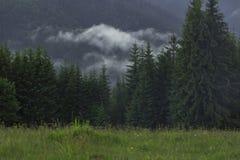 Τα σύννεφα καλύπτουν τα βουνά Στοκ εικόνα με δικαίωμα ελεύθερης χρήσης