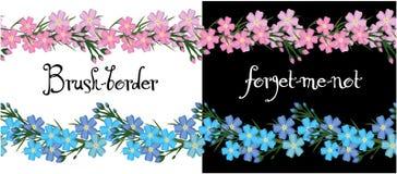 Τα σύνορα βουρτσών των λουλουδιών με ξεχνούν όχι διάνυσμα Στοκ Εικόνα