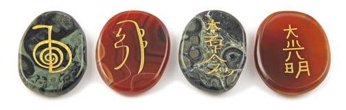 Τα τέσσερα σημαντικά σύμβολα θεραπείας Reiki στοκ εικόνες