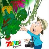 Τα ταξίδια τουριστών μέσω της ζούγκλας και βλέπουν ένα σπάνιο λουλούδι Διανυσματική απεικόνιση
