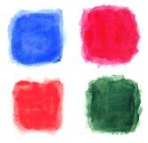 Τα τετράγωνα Watercolor απομόνωσαν 4 σε 1 Στοκ Εικόνες