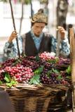 Τα τοπία αφορούσαν την παραγωγή του κρασιού κατά τη διάρκεια του φεστιβάλ κρασιού στο Φουνκάλ σε Madera, Στοκ Εικόνα