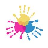 Τα τρία αρχικά χρώματα των handprints Στοκ Εικόνες