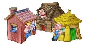 Τα τρία μικρά σπίτια παραμυθιού χοίρων διανυσματική απεικόνιση