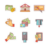 Τα τραπεζικά εικονίδια λεπταίνουν το σύνολο γραμμών Διαδικασίες νομίσματος Στοκ εικόνες με δικαίωμα ελεύθερης χρήσης