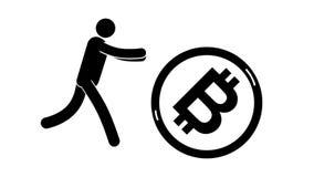 Τα τρεξίματα ατόμων εικονογραμμάτων με τα όπλα στην αναζήτηση του κυλίσματος bitcoin απεικόνιση αποθεμάτων