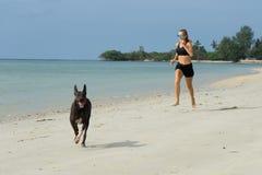 Τα τρεξίματα κοριτσιών στην παραλία, το αθλητικό κορίτσι, σε περίοδο ζέστης στη θάλασσα, που ντύνεται στα μαύρα σορτς και undersh στοκ φωτογραφίες με δικαίωμα ελεύθερης χρήσης