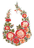 Τα τριαντάφυλλα λουλουδιών στο ρωσικό ύφος Στοκ Φωτογραφίες
