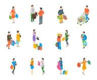 Τα τρισδιάστατα εικονίδια ανθρώπων αγορών καθορισμένα τη Isometric άποψη διάνυσμα Στοκ Εικόνες