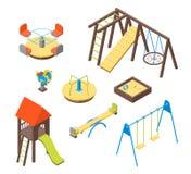 Τα τρισδιάστατα εικονίδια στοιχείων παιδικών χαρών παιδιών καθορισμένα τη Isometric άποψη διάνυσμα Στοκ εικόνες με δικαίωμα ελεύθερης χρήσης
