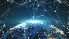 τα τρισδιάστατα σημεία πλανήτη Γη και σύνδεσης, διαφορετικές ήπειροι, υπολογιστής παρήγαγαν την απόδοση του σκηνικού διανυσματική απεικόνιση