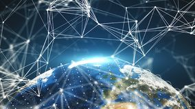 τα τρισδιάστατα σημεία πλανήτη Γη και σύνδεσης, διαφορετικές ήπειροι, υπολογιστής παρήγαγαν την απόδοση του σκηνικού στοκ εικόνες