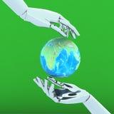 τα τρισδιάστατα χέρια απομονώνουν στην πράσινη ανασκόπηση ελεύθερη απεικόνιση δικαιώματος