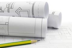 τα τρισδιάστατα σχέδια αρχιτεκτόνων δίνουν τους ρόλους Στοκ εικόνα με δικαίωμα ελεύθερης χρήσης