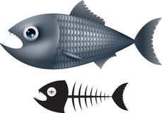τα τρισδιάστατα ψάρια έννοιας κινούμενων σχεδίων τέχνης δίνουν Στοκ Φωτογραφία