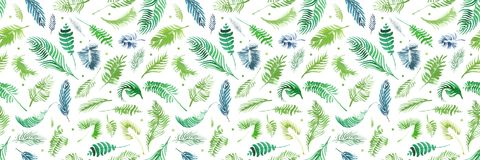 Τα τροπικά φύλλα φοινικών, ζούγκλα αφήνουν το άνευ ραφής floral υπόβαθρο σχεδίων, τροπικό ντεκόρ Watercolor