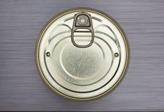 Τα τρόφιμα αλουμινίου μπορούν βουρτσισμένο μέταλλο Στοκ Εικόνα