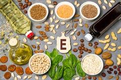 Τα τρόφιμα είναι πηγή βιταμίνης Ε Στοκ Φωτογραφία