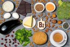 Τα τρόφιμα είναι πηγή βιταμίνης B2 στοκ φωτογραφία με δικαίωμα ελεύθερης χρήσης