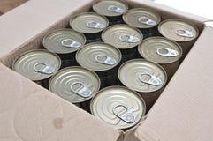 Τα τρόφιμα κασσίτερου μπορούν στο έγγραφο να εγκιβωτίσουν Στοκ φωτογραφία με δικαίωμα ελεύθερης χρήσης