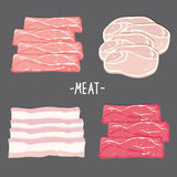 Τα τρόφιμα κρέατος τρώνε το φρέσκο ακατέργαστο διάνυσμα κινούμενων σχεδίων φετών κομματιού κοτόπουλου μπέϊκον χοιρινού κρέατος βό Στοκ Εικόνες