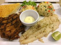 Τα τρόφιμα μετακινούνται την μπριζόλα και το κοτόπουλο εύγευστες Στοκ Εικόνες