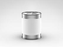 Τα τρόφιμα μπορούν με άσπρο να ονομάσουν Στοκ εικόνα με δικαίωμα ελεύθερης χρήσης