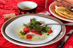 Τα τρόφιμα παραμένουν μετά το μεσημεριανό γεύμα Στοκ εικόνα με δικαίωμα ελεύθερης χρήσης