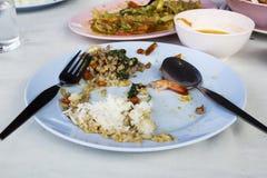 Τα τρόφιμα στο πιάτο ?αγώθηκαν επάνω από τον άνθρωποφαγώθηκαν, που τελείωσαν, πουφαγώθηκε στοκ φωτογραφία