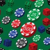 Τα τσιπ πόκερ και χωρίζουν σε τετράγωνα το άνευ ραφής σχέδιο Στοκ Φωτογραφίες