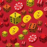 Τα τσιπ πόκερ χωρίζουν σε τετράγωνα και το άνευ ραφής σχέδιο νομισμάτων Στοκ φωτογραφία με δικαίωμα ελεύθερης χρήσης