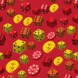 Τα τσιπ πόκερ χωρίζουν σε τετράγωνα και το άνευ ραφής σχέδιο νομισμάτων Στοκ Φωτογραφίες