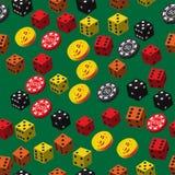 Τα τσιπ πόκερ χωρίζουν σε τετράγωνα και το άνευ ραφής σχέδιο νομισμάτων Στοκ Εικόνες