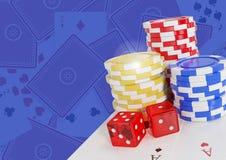 Τα τσιπ χαρτοπαικτικών λεσχών πόκερ και χωρίζουν σε τετράγωνα και κάρτες διανυσματική απεικόνιση
