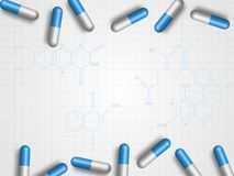 Τα φάρμακα στον τύπο χημείας ως υπόβαθρο αντιπροσωπεύουν την ιατρική και έννοια υγειονομικής περίθαλψης τεχνολογία πλανητών γήινω ελεύθερη απεικόνιση δικαιώματος