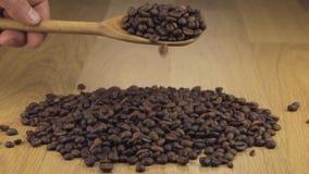 Τα φασόλια καφέ παίρνουν αρκετό ύπνο από ένα ξύλινο κουτάλι σε έναν σωρό των φασολιών καφέ απόθεμα βίντεο