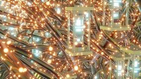 Τα φουτουριστικά αφηρημένα αντικείμενα με τις μεταλλικές αφηρημένες καμμένος χοβόλεις μορφών και οι μορφές sci-Fi στο πάτωμα τρισ διανυσματική απεικόνιση