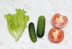 Τα φρέσκα λαχανικά - σαλάτα ντοματών, αγγουριών και φύλλων - είναι έτοιμα για τη σαλάτα στοκ εικόνες