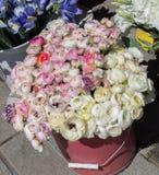 Τα φρέσκα ζωηρόχρωμα λουλούδια υποβάλλουν τα βάζα Στοκ Εικόνα
