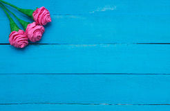 Τα φρέσκα λουλούδια τριαντάφυλλων στην ακτίνα του φωτός στο τυρκουάζ χρωμάτισαν το ξύλινο υπόβαθρο Εκλεκτική εστίαση τοποθετήστε  Στοκ εικόνα με δικαίωμα ελεύθερης χρήσης
