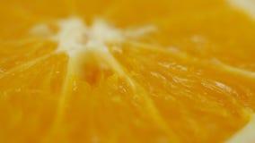 Τα φρέσκα τεμαχισμένα πορτοκάλι φρούτα περιστρέφονται απόθεμα βίντεο