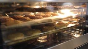Τα φρέσκα oatmeal μπισκότα προετοιμάζονται σε ένα πλέγμα μετάλλων απόθεμα βίντεο