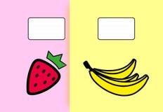 Τα φρούτα σημειωματάριων κάλυψης έθεσαν 2 κομμάτια Στοκ Εικόνα