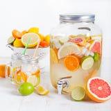 Τα φρούτα Detox ημπότισαν το αρωματικό νερό, λεμονάδα, κοκτέιλ σε έναν διανομέα ποτών με τους νωπούς καρπούς Στοκ Φωτογραφίες