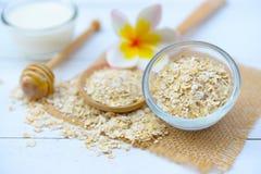 Τα φυσικά συστατικά για το σπιτικό πρόσωπο σώματος τρίβουν το μέλι και το γιαούρτι βρωμών ανασκόπησης ομορφιάς μπλε έννοιας εμπορ στοκ εικόνες