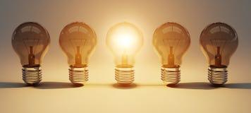 Τα φωτεινά lightbulbs παράταξαν την τρισδιάστατη απόδοση Στοκ φωτογραφία με δικαίωμα ελεύθερης χρήσης