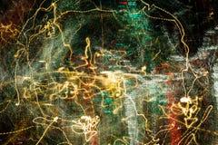 Τα φω'τα πόλεων νύχτας διασκόρπισαν με την κίνηση και το ζουμ καμερών έξω στη μακροχρόνια έκθεση Στοκ εικόνα με δικαίωμα ελεύθερης χρήσης
