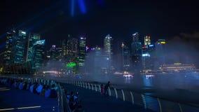 Τα φω'τα και το νερό της Σιγκαπούρης παρουσιάζουν Timelapse απόθεμα βίντεο