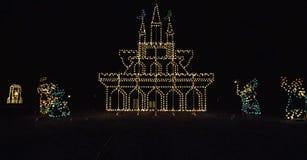 Τα φω'τα Χριστουγέννων στο περιστέρι σφυρηλατούν, TN Στοκ Εικόνες